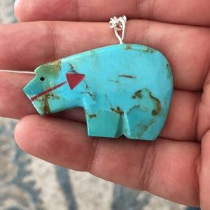 Carved natural turquoise pendant & chain